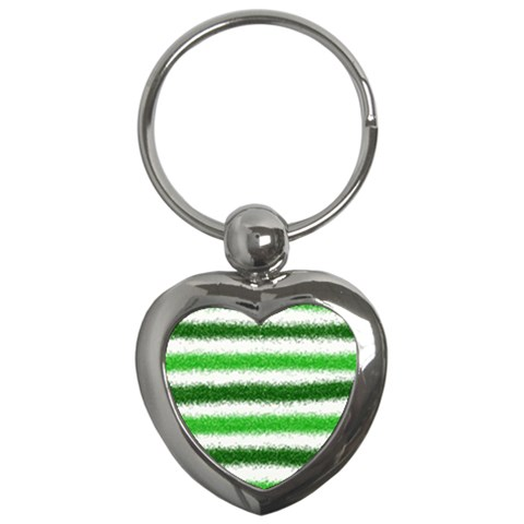 Metallic Green Glitter Stripes Key Chains (Heart)