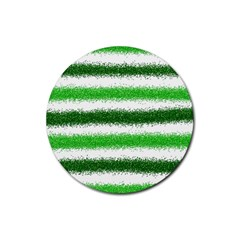 Metallic Green Glitter Stripes Rubber Round Coaster (4 pack)