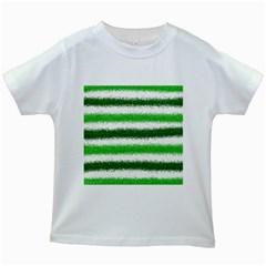 Metallic Green Glitter Stripes Kids White T-Shirts