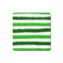 Metallic Green Glitter Stripes Square Magnet