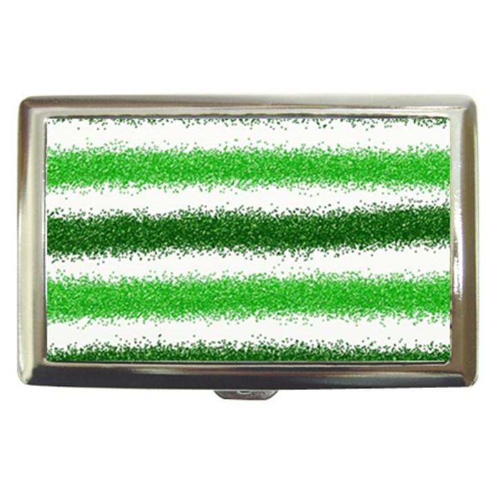 Metallic Green Glitter Stripes Cigarette Money Cases
