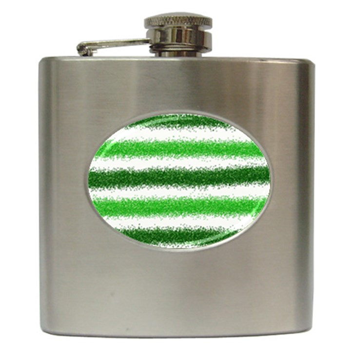 Metallic Green Glitter Stripes Hip Flask (6 oz)
