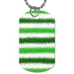 Metallic Green Glitter Stripes Dog Tag (Two Sides)