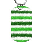Metallic Green Glitter Stripes Dog Tag (Two Sides) Front