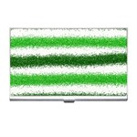 Metallic Green Glitter Stripes Business Card Holders Front