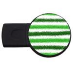 Metallic Green Glitter Stripes USB Flash Drive Round (1 GB)  Front