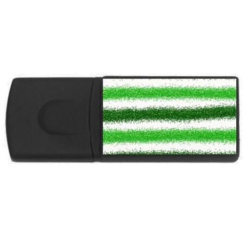 Metallic Green Glitter Stripes USB Flash Drive Rectangular (2 GB)