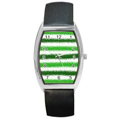 Metallic Green Glitter Stripes Barrel Style Metal Watch