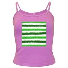 Metallic Green Glitter Stripes Dark Spaghetti Tank