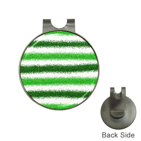 Metallic Green Glitter Stripes Hat Clips with Golf Markers