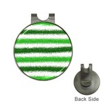 Metallic Green Glitter Stripes Hat Clips with Golf Markers Front