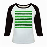 Metallic Green Glitter Stripes Kids Baseball Jerseys Front