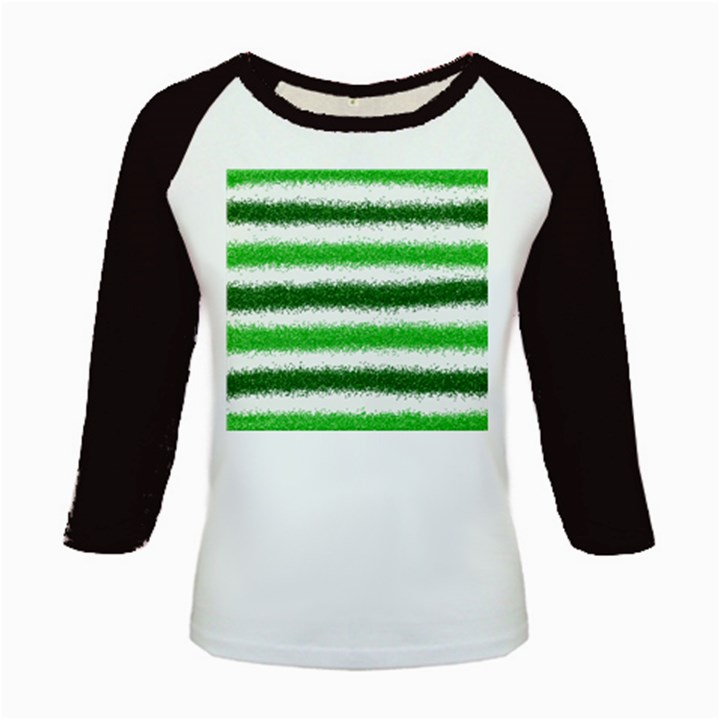 Metallic Green Glitter Stripes Kids Baseball Jerseys