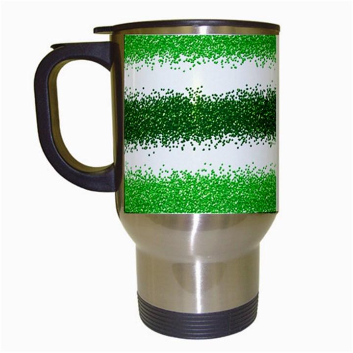 Metallic Green Glitter Stripes Travel Mugs (White)