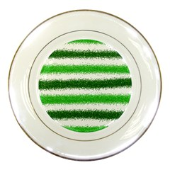 Metallic Green Glitter Stripes Porcelain Plates