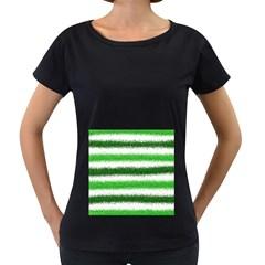 Metallic Green Glitter Stripes Women s Loose-Fit T-Shirt (Black)