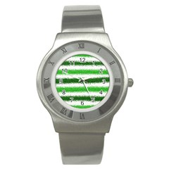 Metallic Green Glitter Stripes Stainless Steel Watch