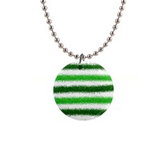 Metallic Green Glitter Stripes Button Necklaces
