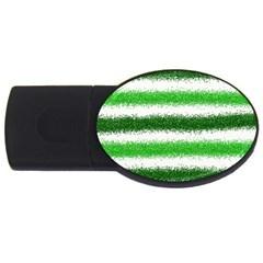Metallic Green Glitter Stripes USB Flash Drive Oval (4 GB)