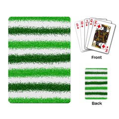 Metallic Green Glitter Stripes Playing Card