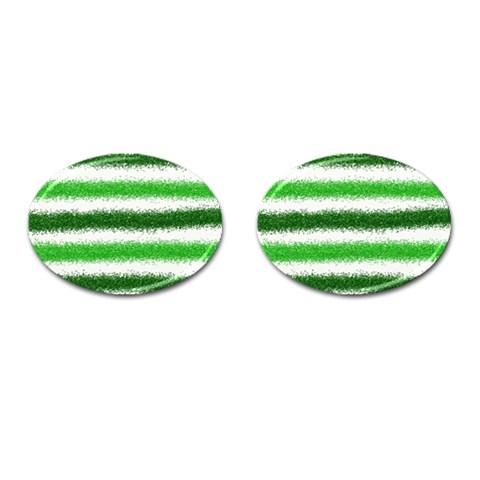 Metallic Green Glitter Stripes Cufflinks (Oval)