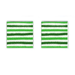 Metallic Green Glitter Stripes Cufflinks (Square)