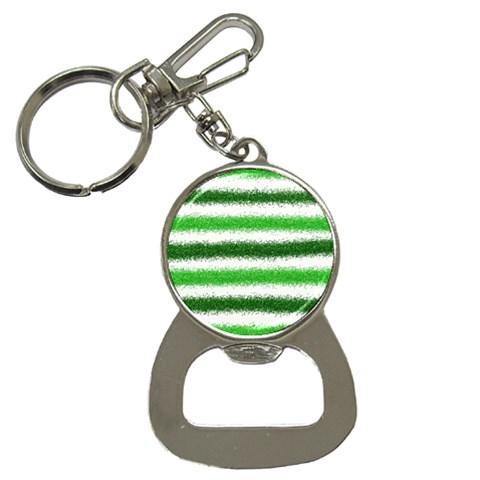 Metallic Green Glitter Stripes Bottle Opener Key Chains