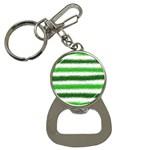 Metallic Green Glitter Stripes Bottle Opener Key Chains Front