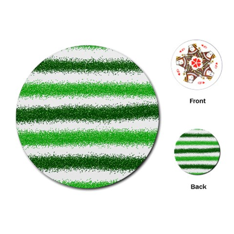 Metallic Green Glitter Stripes Playing Cards (Round)