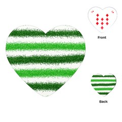 Metallic Green Glitter Stripes Playing Cards (Heart)