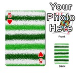 Metallic Green Glitter Stripes Playing Cards 54 Designs  Front - Heart5