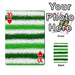Metallic Green Glitter Stripes Playing Cards 54 Designs  Front - Heart10