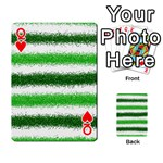 Metallic Green Glitter Stripes Playing Cards 54 Designs  Front - HeartQ