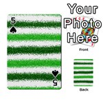 Metallic Green Glitter Stripes Playing Cards 54 Designs  Front - Spade5
