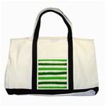Metallic Green Glitter Stripes Two Tone Tote Bag Front