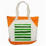 Metallic Green Glitter Stripes Accent Tote Bag Front