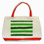 Metallic Green Glitter Stripes Classic Tote Bag (Red) Front