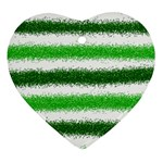 Metallic Green Glitter Stripes Heart Ornament (2 Sides) Front