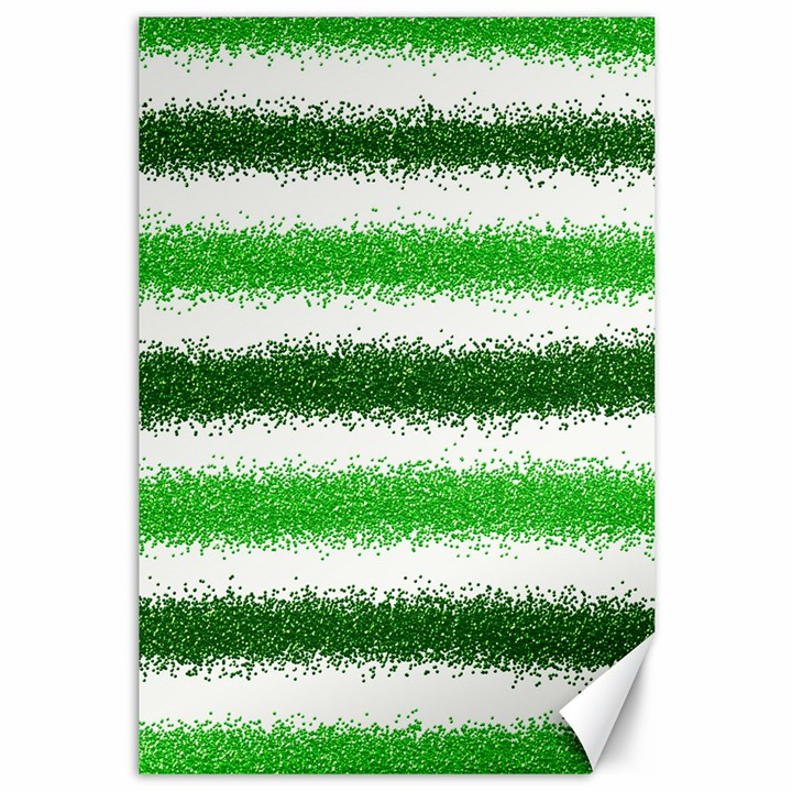 Metallic Green Glitter Stripes Canvas 12  x 18