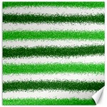 Metallic Green Glitter Stripes Canvas 16  x 16   16 x16 Canvas - 1