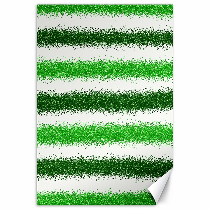 Metallic Green Glitter Stripes Canvas 20  x 30
