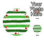 Metallic Green Glitter Stripes Playing Cards 54 (Round)  Front - Heart7