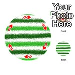 Metallic Green Glitter Stripes Playing Cards 54 (Round)  Front - Heart9
