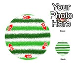 Metallic Green Glitter Stripes Playing Cards 54 (Round)  Front - Heart10