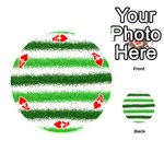 Metallic Green Glitter Stripes Playing Cards 54 (Round)  Front - HeartA