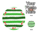 Metallic Green Glitter Stripes Playing Cards 54 (Round)  Front - Diamond5