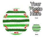 Metallic Green Glitter Stripes Playing Cards 54 (Round)  Front - Diamond10