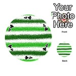 Metallic Green Glitter Stripes Playing Cards 54 (Round)  Front - Club4