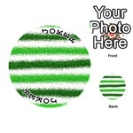 Metallic Green Glitter Stripes Playing Cards 54 (Round)  Front - Joker1
