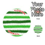 Metallic Green Glitter Stripes Playing Cards 54 (Round)  Front - Joker2